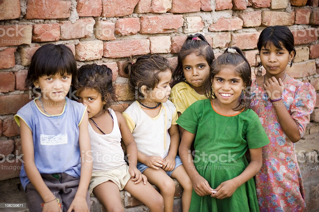 Group of Cheerful Rural Indian Girls royalty-free stock photo