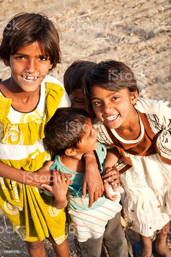 Group of Cheerful Rural Indian Rajasthani Children royalty-free stock photo