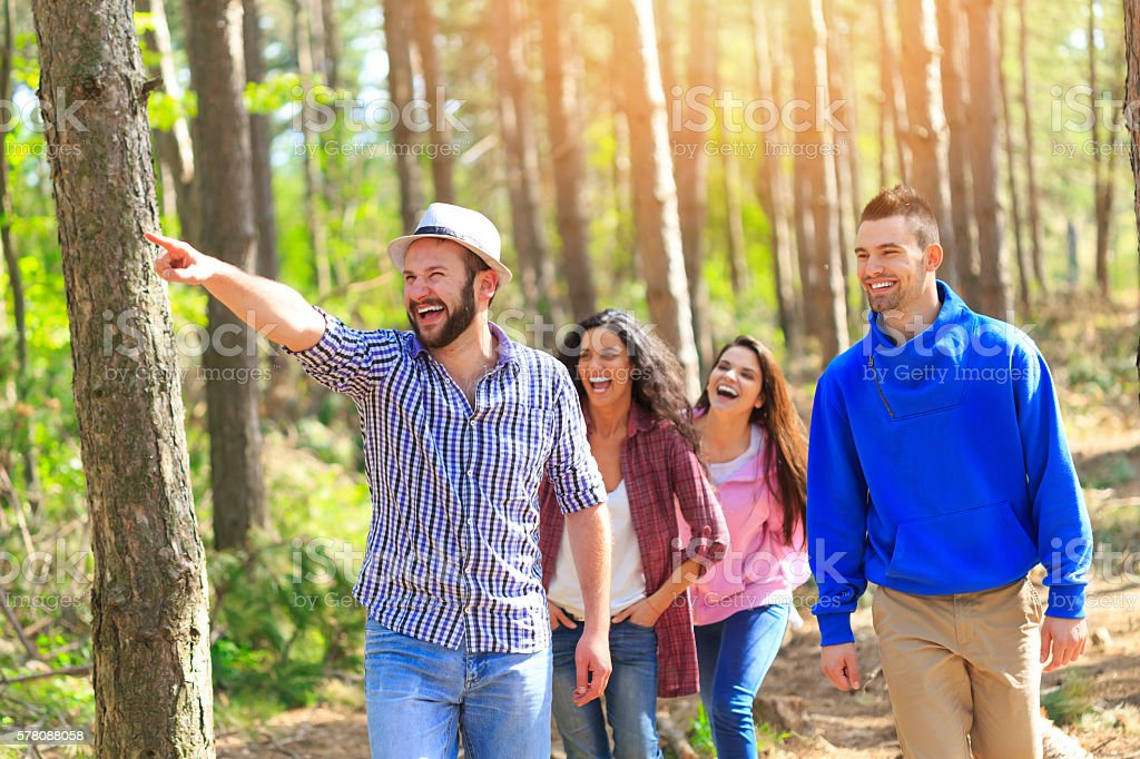 Group of cheerful young friends walking in the forest stock photo