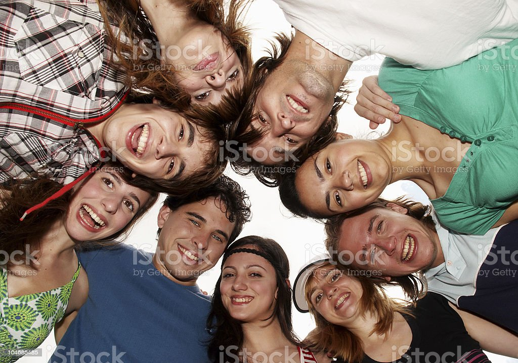 Group of cheerful young people having fun on summer holiday royalty-free stock photo