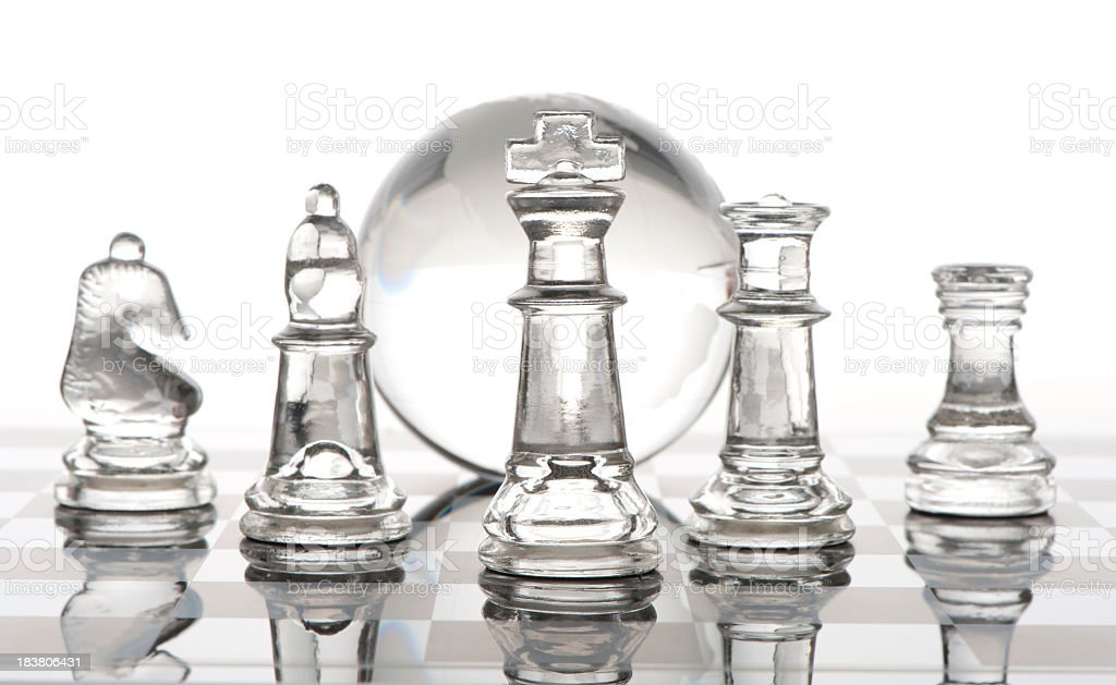 Group of Chess pieces with globe royalty-free stock photo