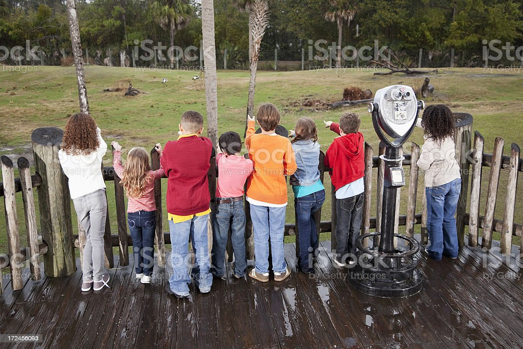 Group of children at zoo royalty-free stock photo
