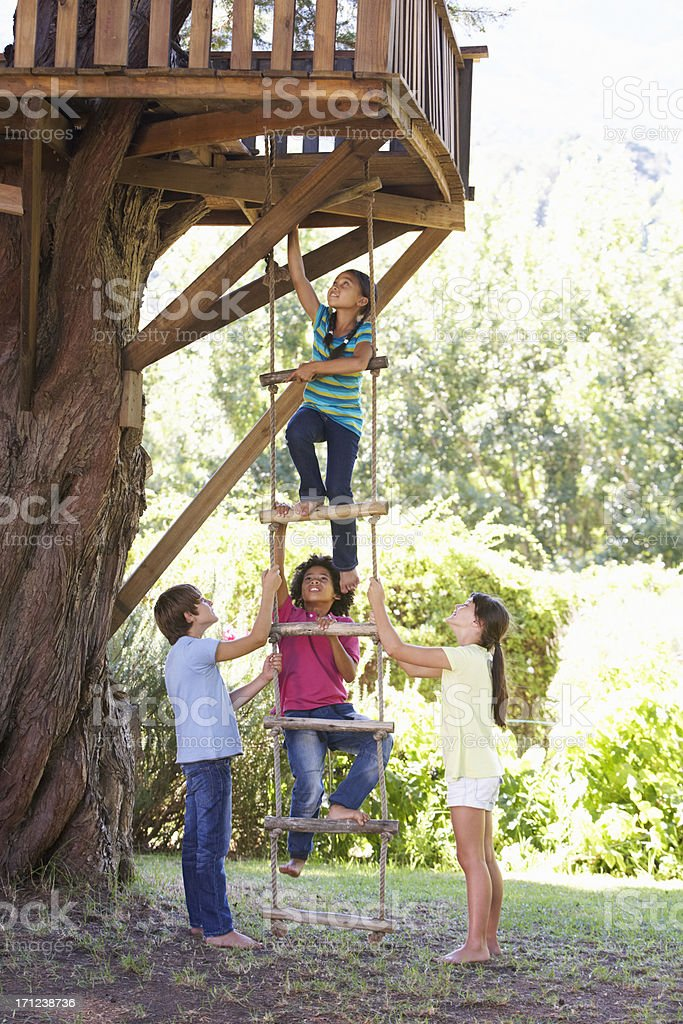 Group of children climbing hanging ladder to treehouse stock photo