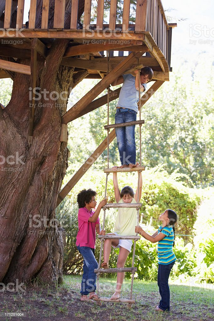 Group Of Children Climbing Rope Ladder To Treehouse stock photo