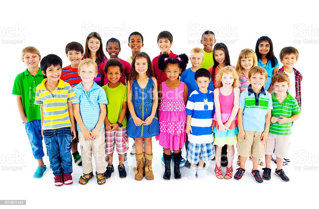 Group of Children Friends Smiling Happiness Concept stock photo