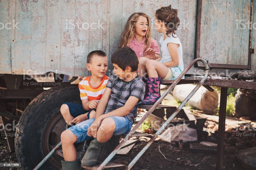 Group of children in a ghetto stock photo