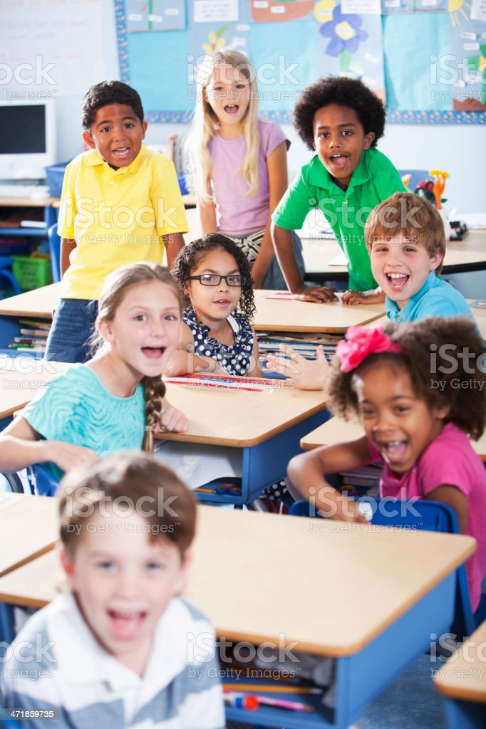 Group of children in classroom stock photo