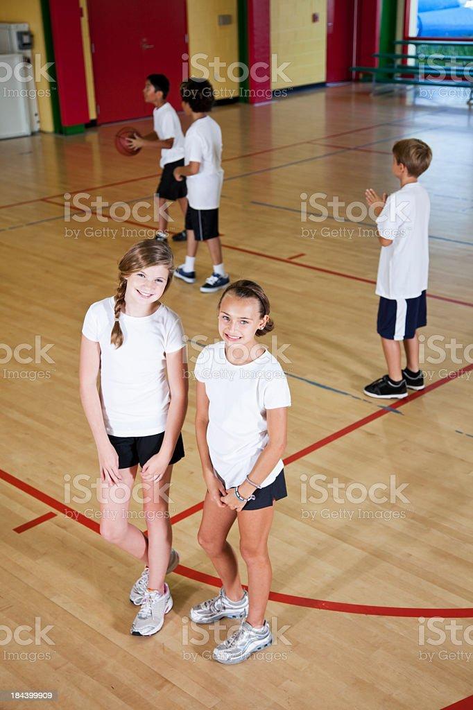 Group of children in school gymnasium stock photo