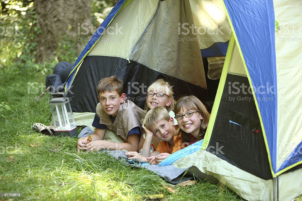 Group of children in tent royalty-free stock photo