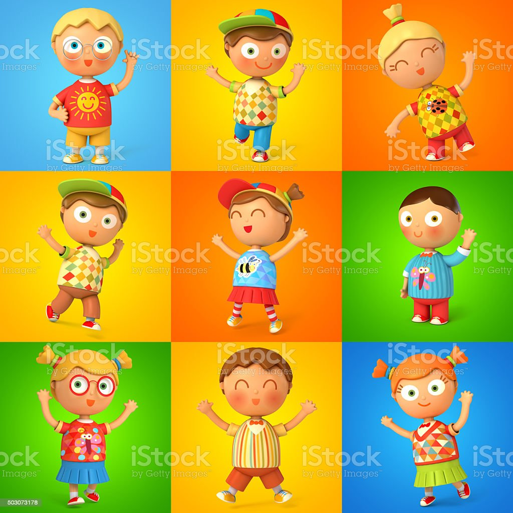 Group of children jumping stock photo