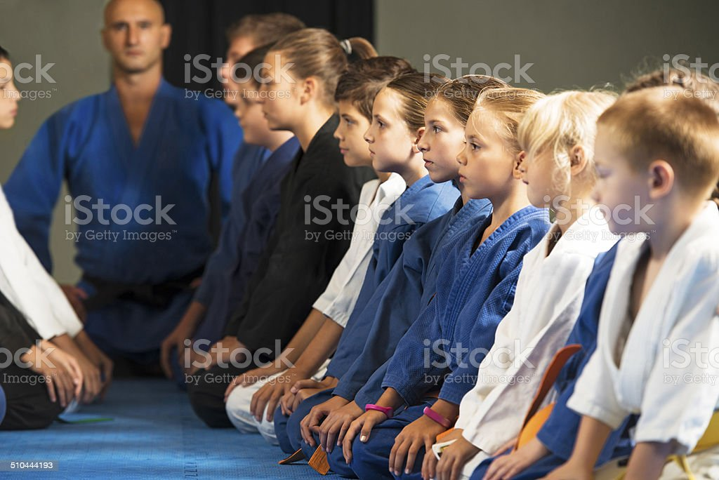 Group of children on a karate training. stock photo