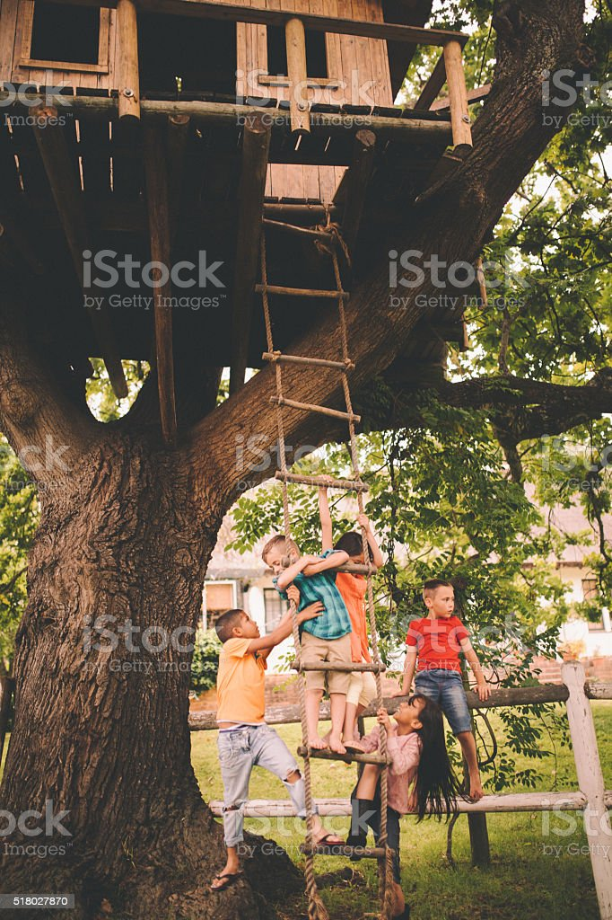 Group of children playing on the rope ladder of treehouse stock photo