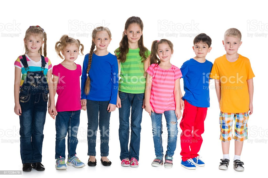 Group of children stand together stock photo