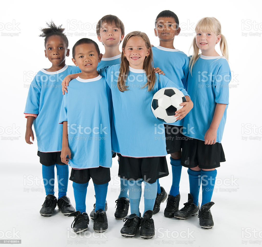 Group of Children Standing Together Before the Game stock photo