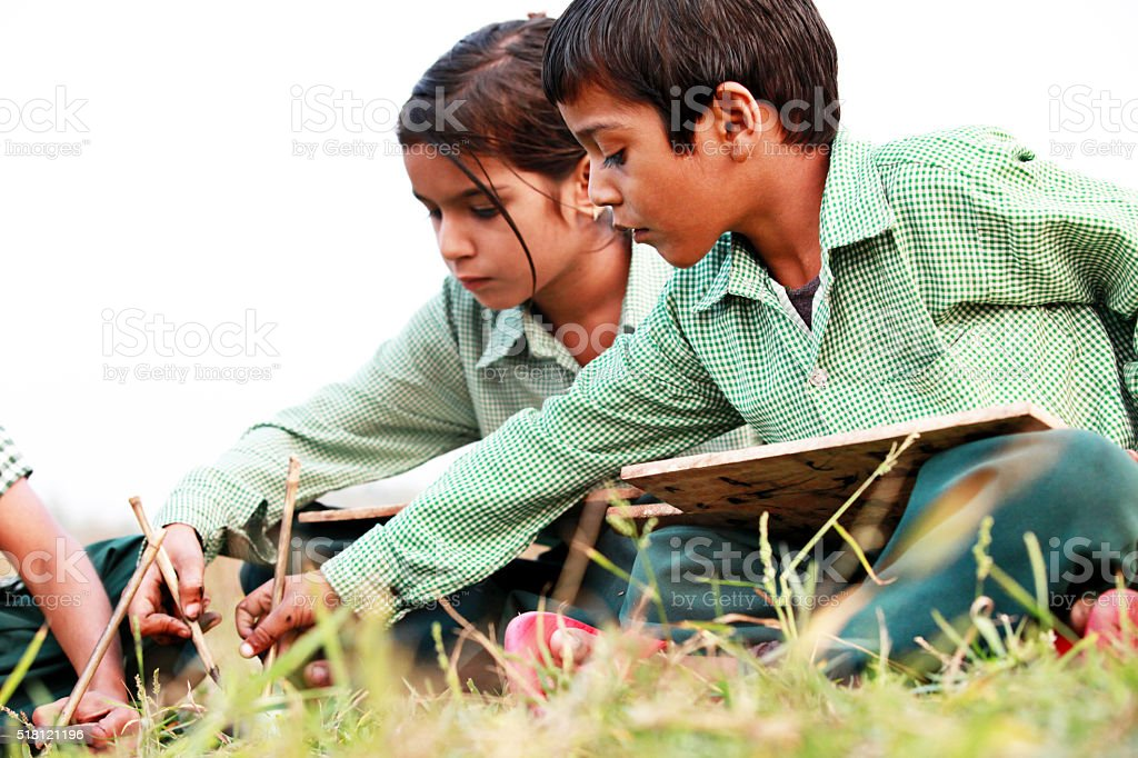 Group of children studying concept outdoor stock photo