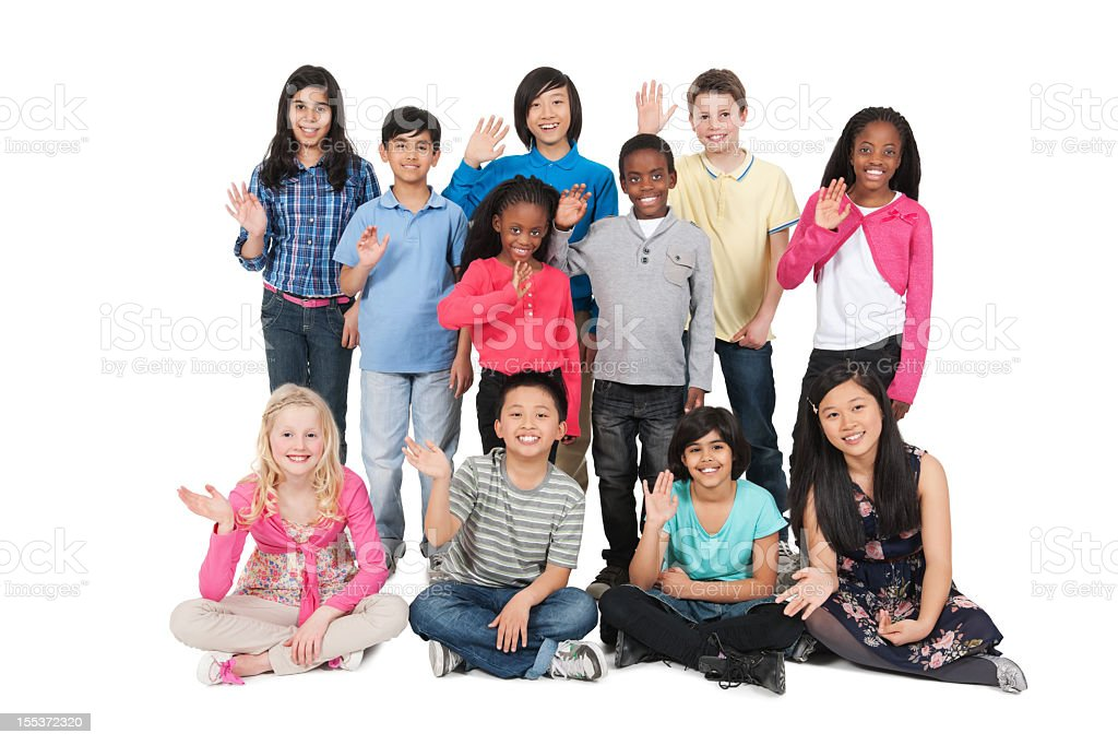 Group Of Children Waving royalty-free stock photo