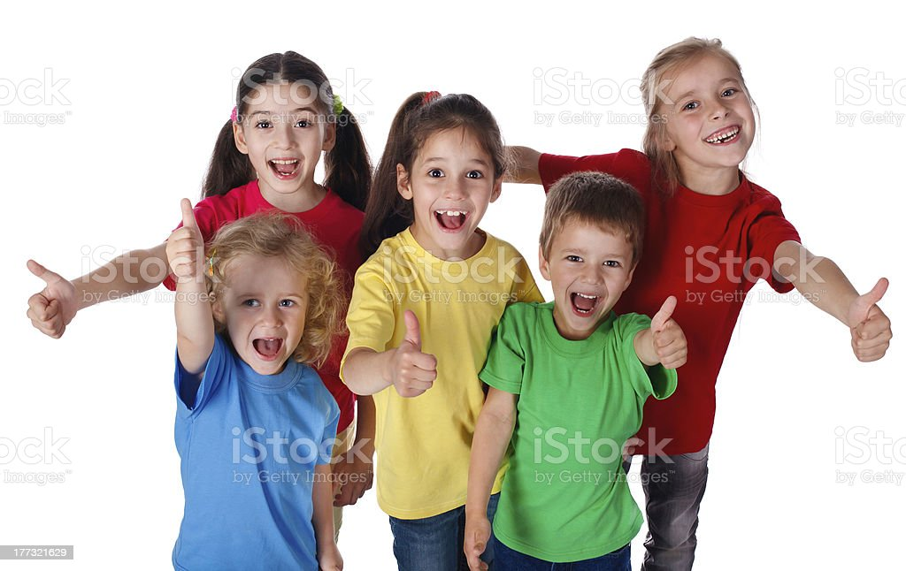 Group of children with thumbs up sign stock photo