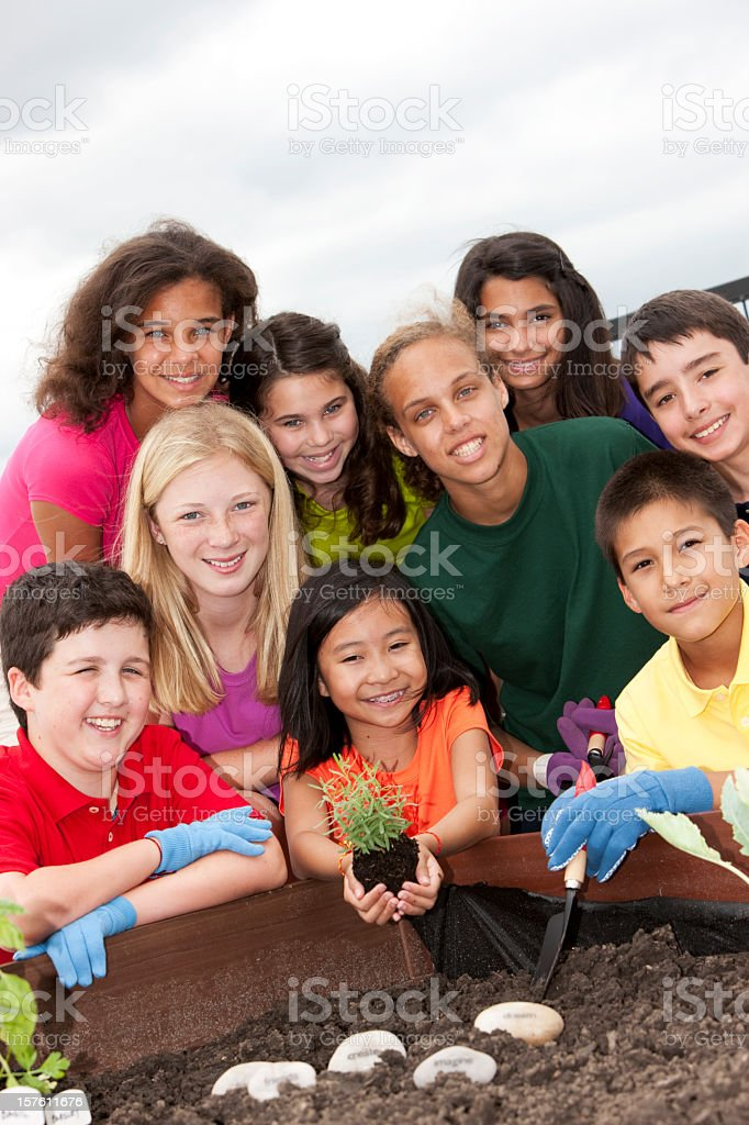 A group of children working on a garden together royalty-free stock photo
