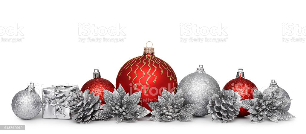 Group of christmas balls isolated on white background stock photo