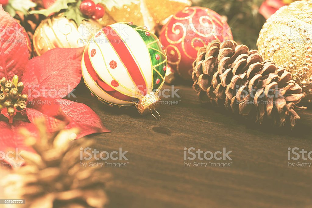 Group of Christmas decorations with copyspace. stock photo