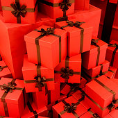 Group of Christmas gift boxes