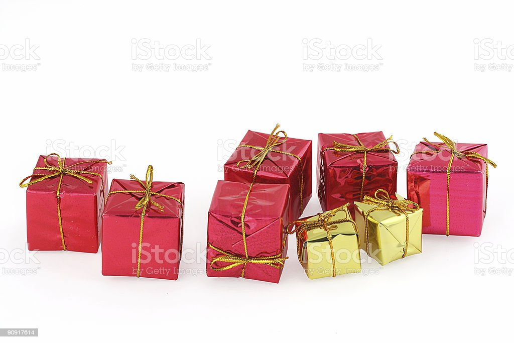 group of christmas presents royalty-free stock photo