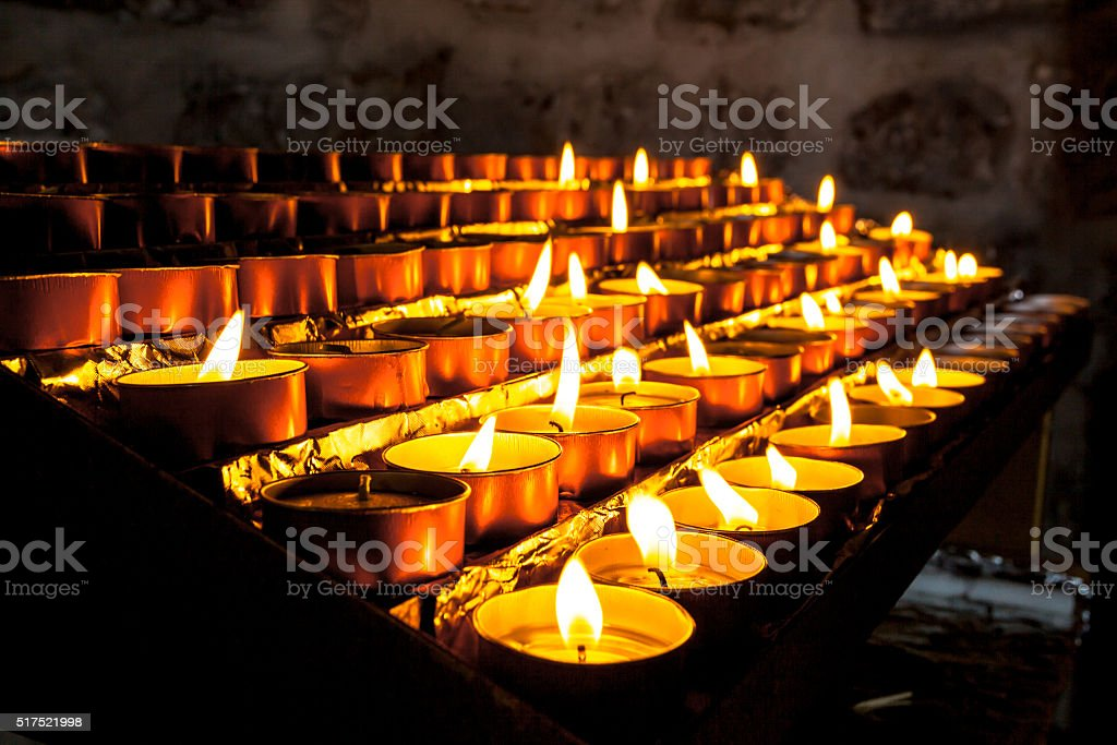 Group of Church Candle in a Row stock photo