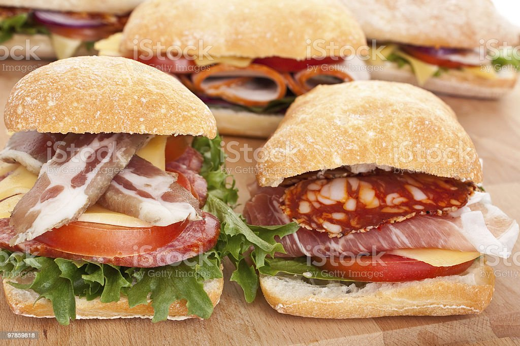 group of ciabatta bread sandwiches royalty-free stock photo