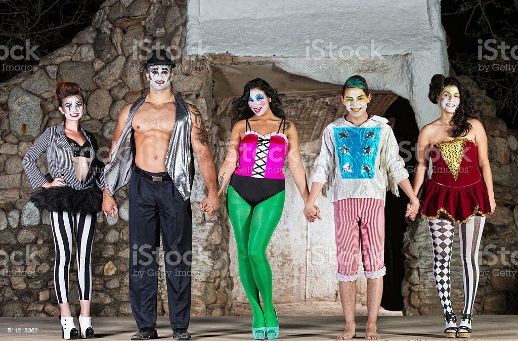 Group of Cirque Clowns stock photo
