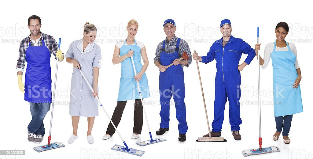 Group Of Cleaners With Mop stock photo