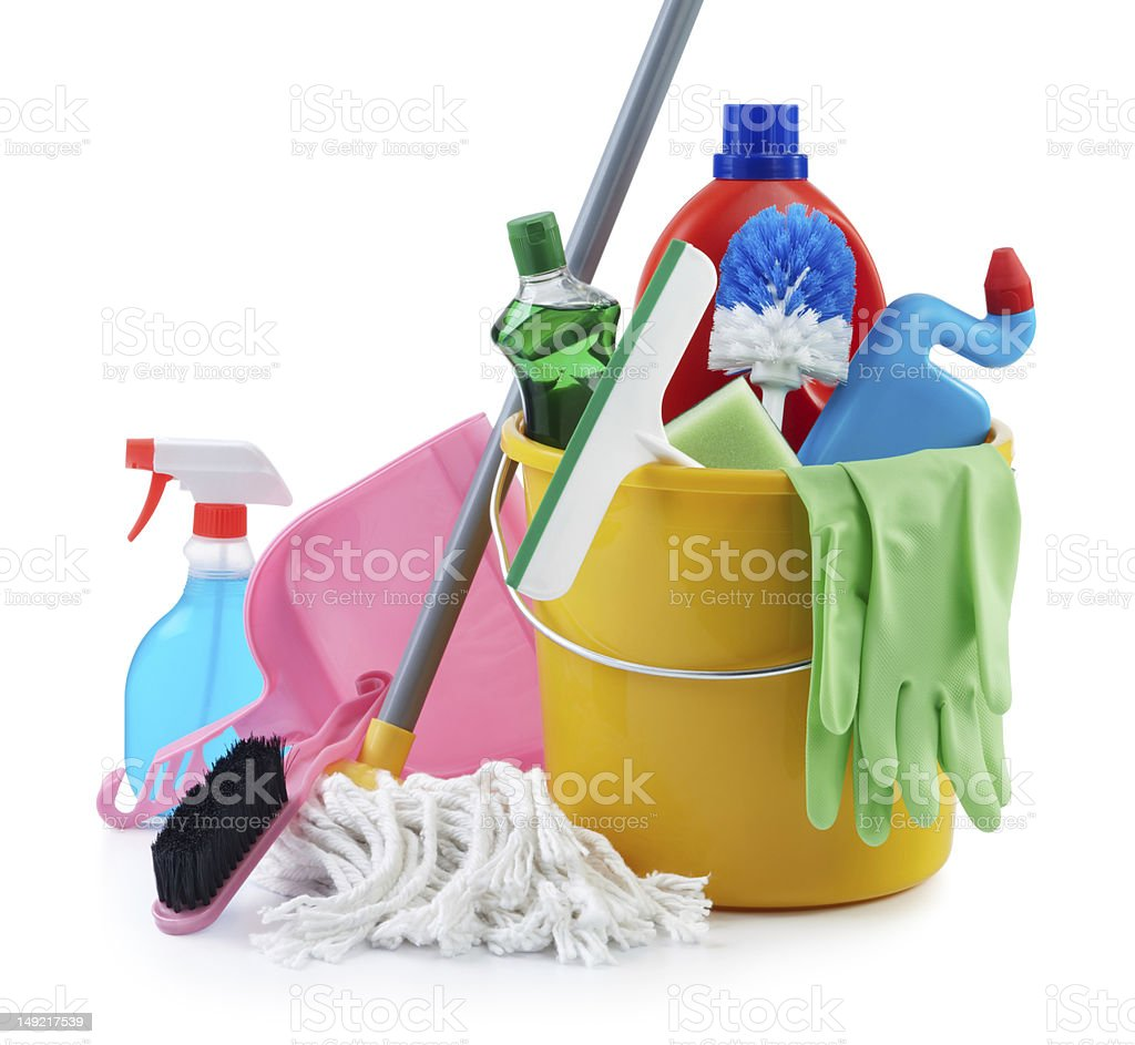 group of cleaning products stock photo