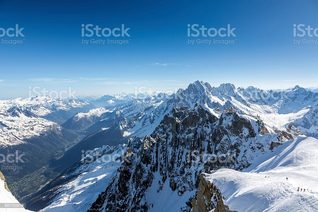 Group of Climbers Going at Mont Blanc Summit, Chamonix, France stock photo