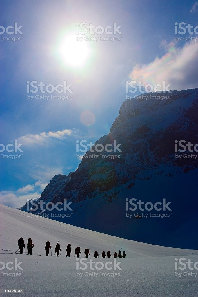Group of climbers on expedition royalty-free stock photo