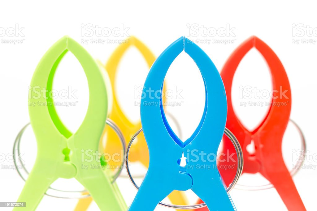 Group of cloth clips stock photo