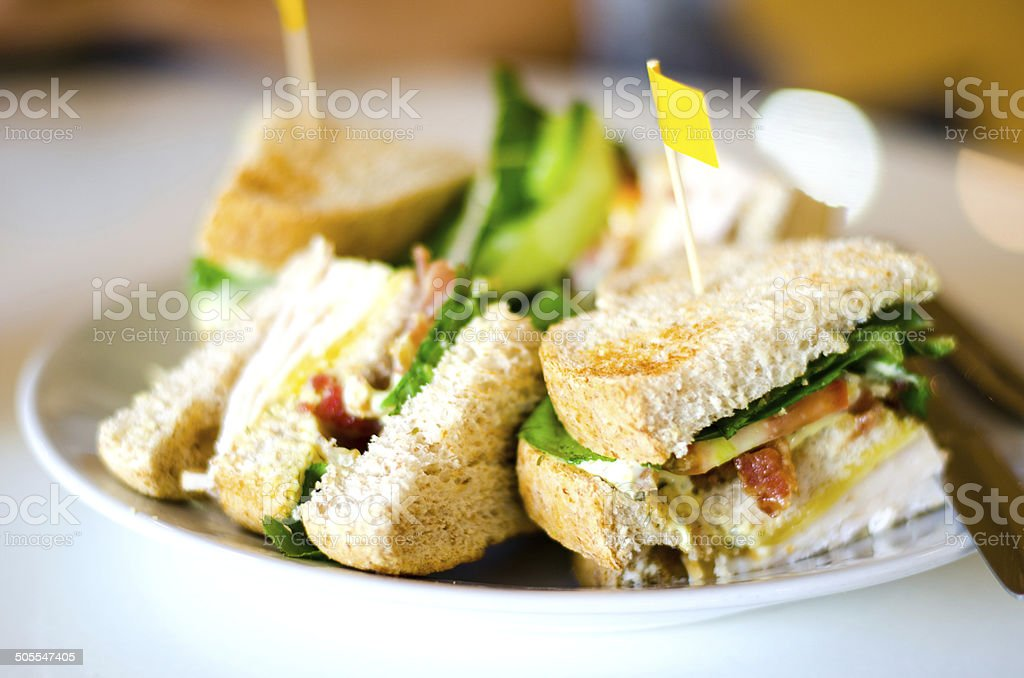 Group of club sandwiches stock photo