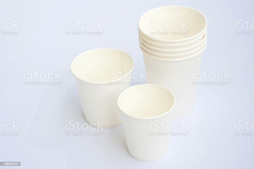 Group of coffee cup on white background royalty-free stock photo