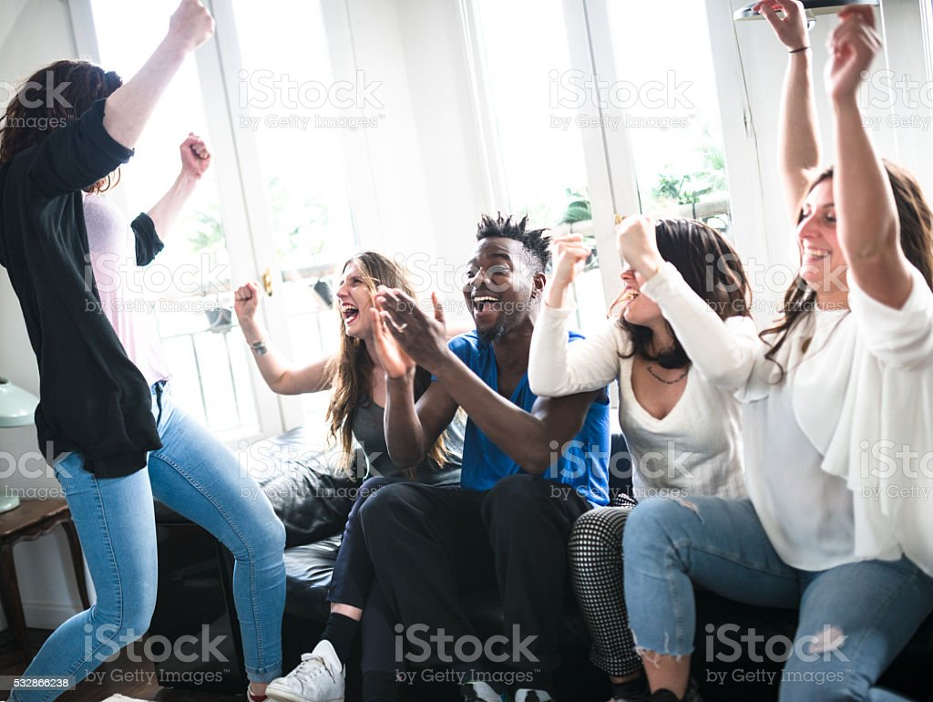 Group of college student happiness on the sofa stock photo