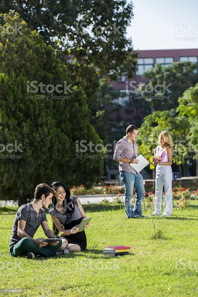 Group of college student outdoors royalty-free stock photo