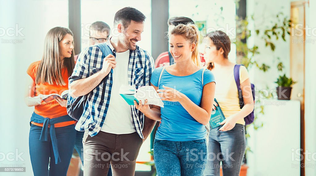 Group of college students in a hallway. stock photo