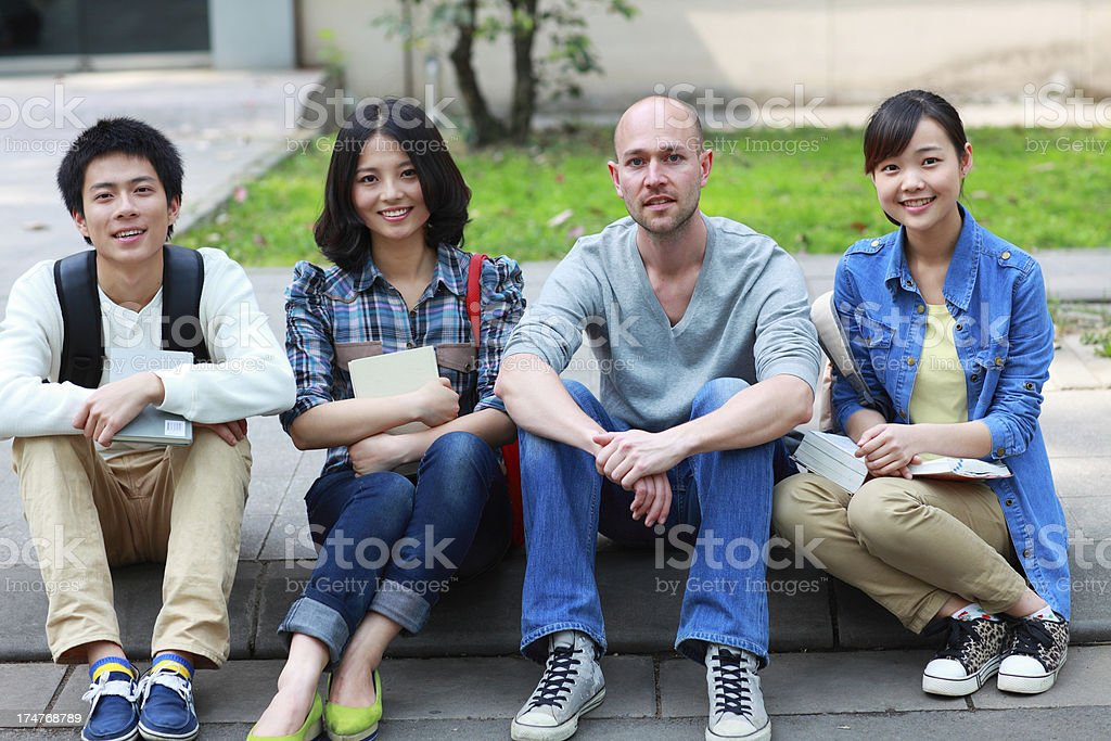 group of college students looking at camera smile royalty-free stock photo