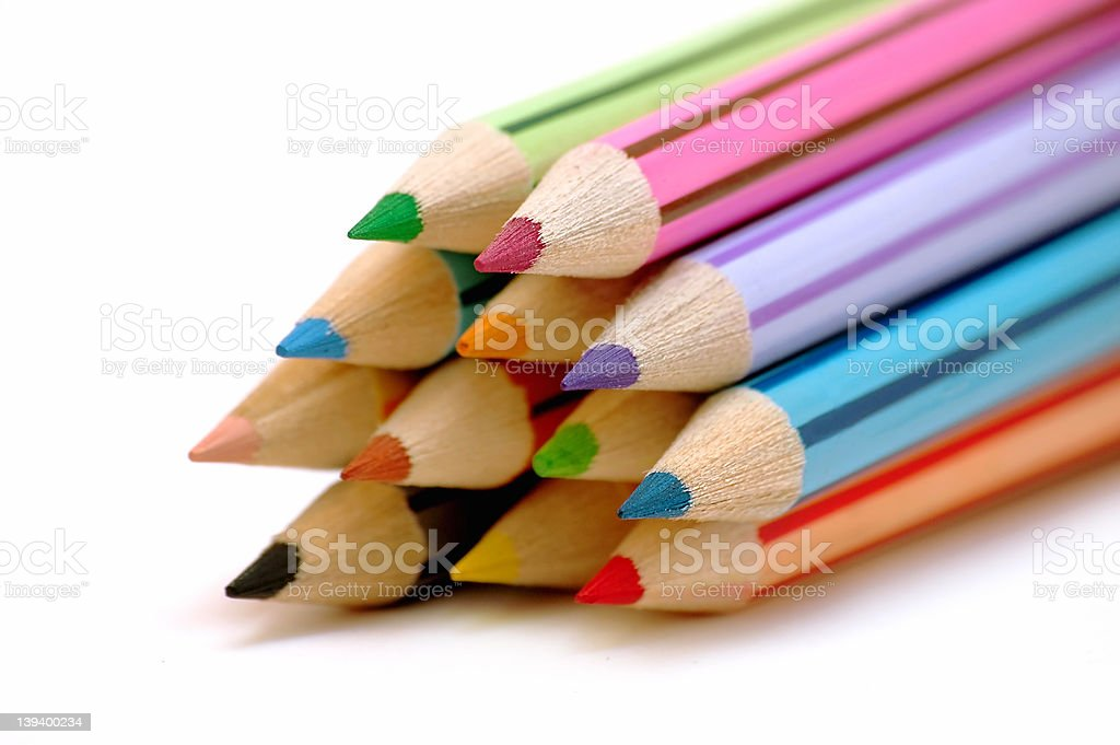 Group of color pencils royalty-free stock photo