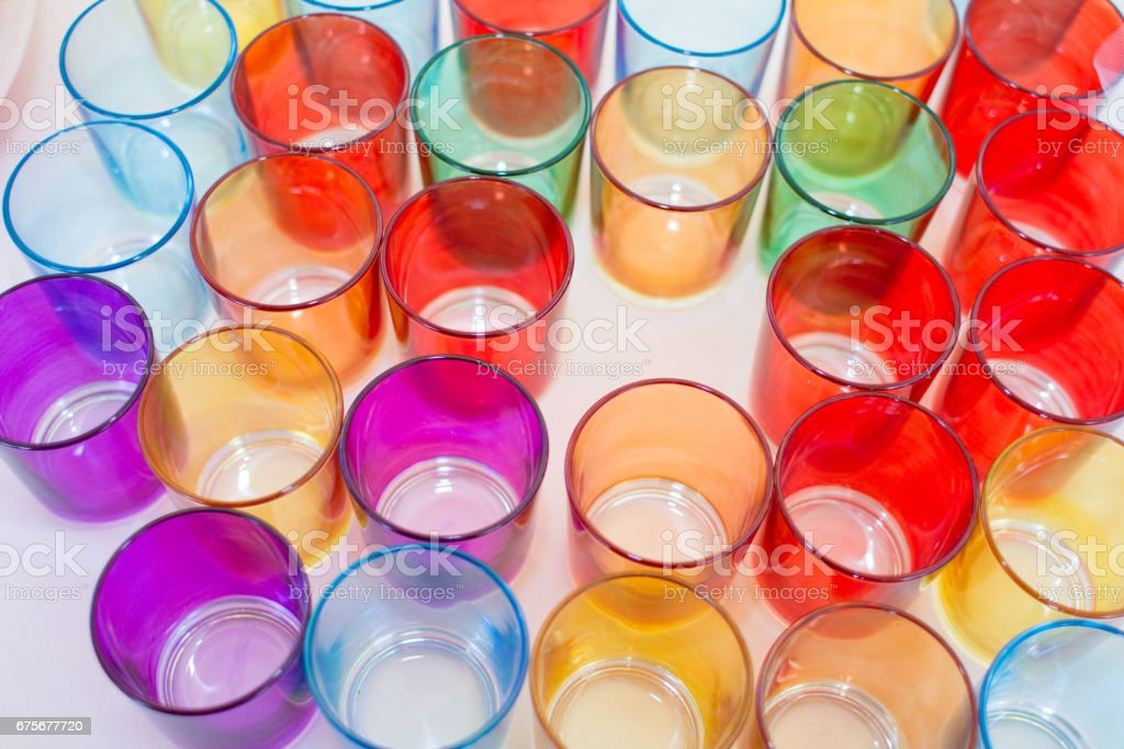 A group of colored glasses stock photo