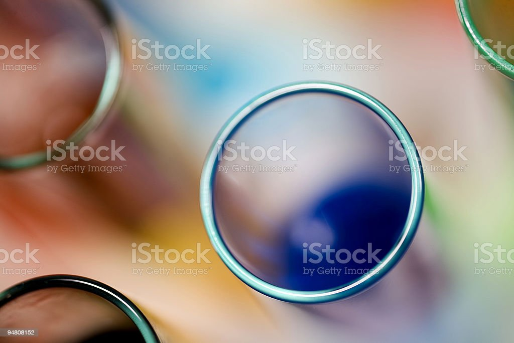 Group of colored test tubes from above stock photo