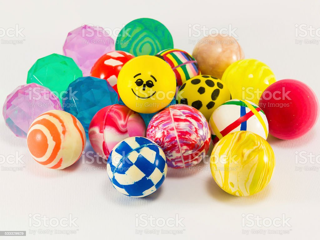 group of colorful bouncing balls toy stock photo