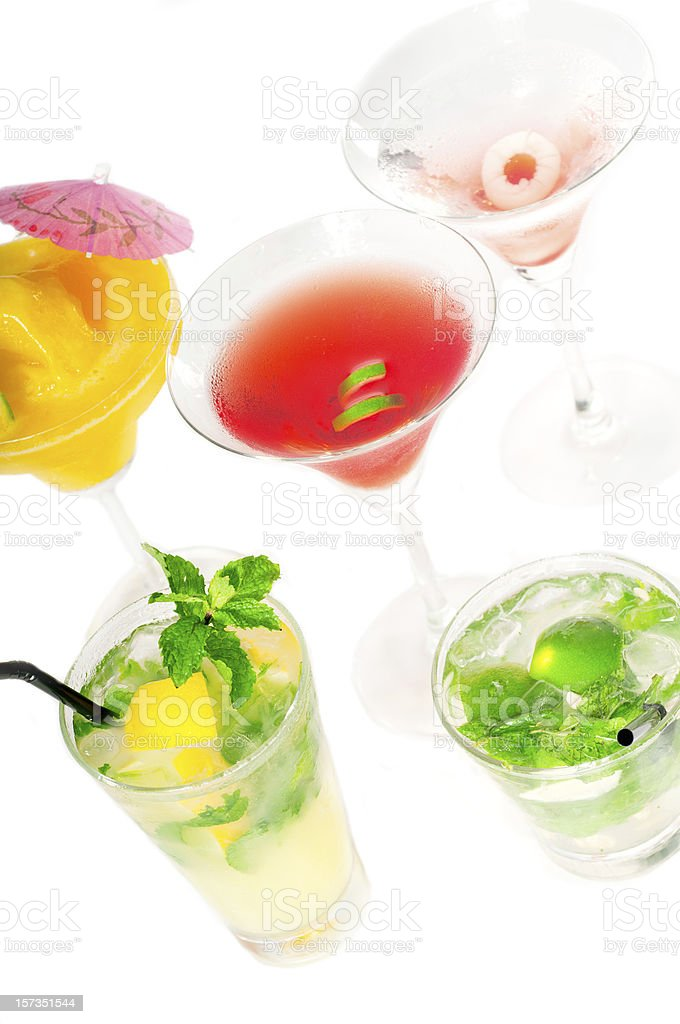 group of colorful cocktails in cocktail glasses. royalty-free stock photo