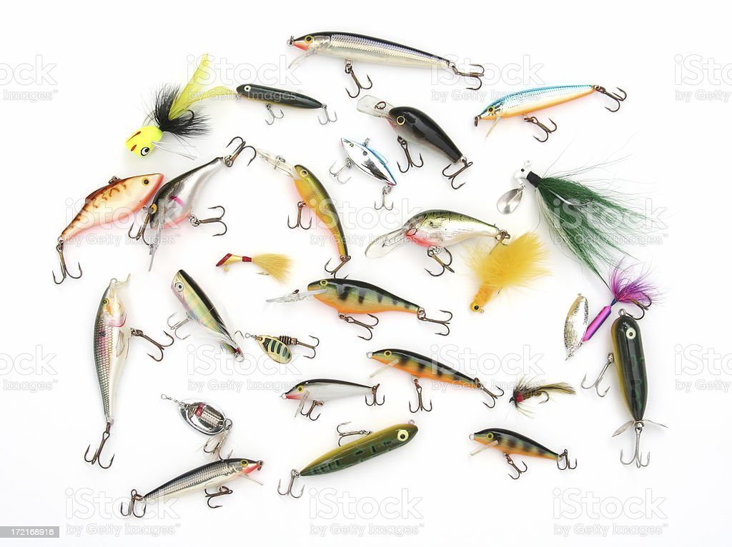 Group of colorful fishing lures with hooks on white background stock photo