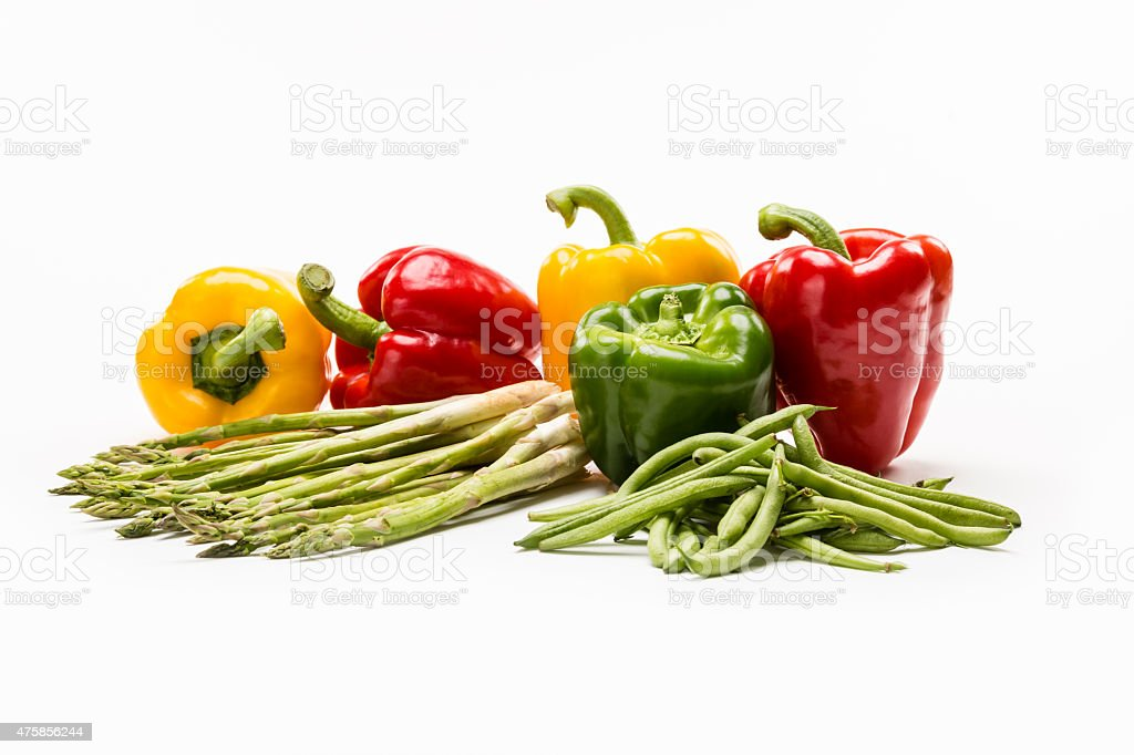 Group of colorful, fresh vegetables on white background stock photo