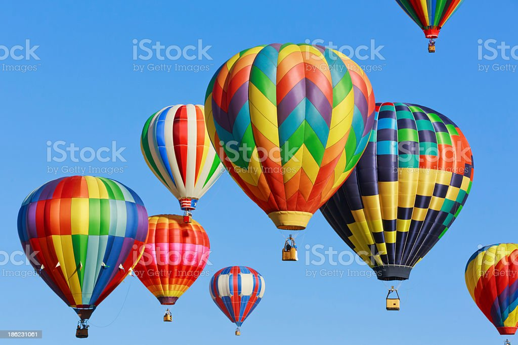 Group of colorful hot air balloons stock photo