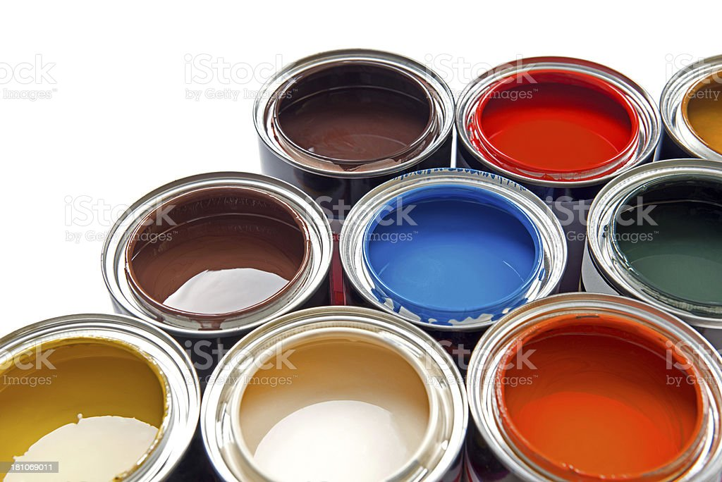 Group of colorful paint tins stock photo