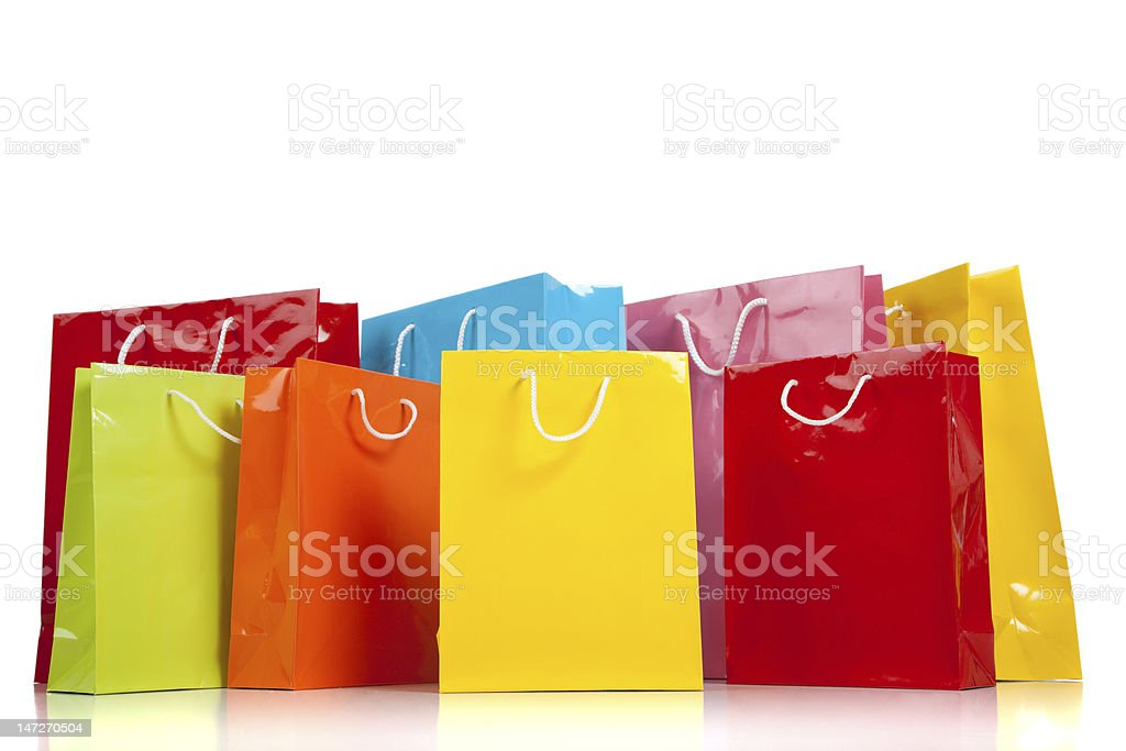 Group of Colorful shopping bags on white royalty-free stock photo